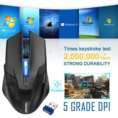 TeckNet Wireless Gaming Mouse 4800 DPI USB Cordless Optical Mice For PC Laptop • 10.99£