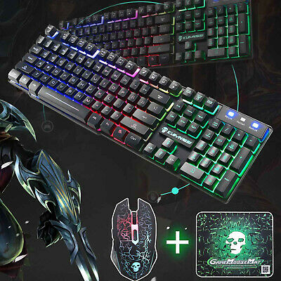 Keyboard And Mouse For PS4 PS3 Xbox One PC T6 Gaming Rainbow Backlit Mechanical • 12.99£