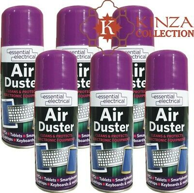 6x Air Duster Spray Compressed Aerosol Can Cleans Protects Keyboard PC 200ml  • 10.75£