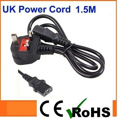 1.5m Long IEC Kettle Lead Power Cable PC Monitor TV C13 Cord 3 Pin UK Plug • 3.95£
