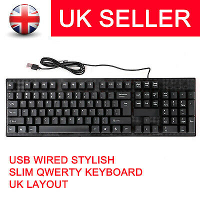 Ultra Thin USB WIRED QWERTY KEYBOARD UK LAYOUT FOR COMPUTER LAPTOP PC DESKTOP • 6.29£