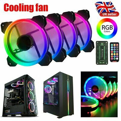 4 Pack RGB LED Quiet Computer Case PC Cooling Fan 120mm With 1 Remote Control UK • 23.99£
