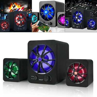 Subwoofer Computer Speakers USB Wired LED Bass Stereo Player For Laptop PC R4H2 • 9.75£