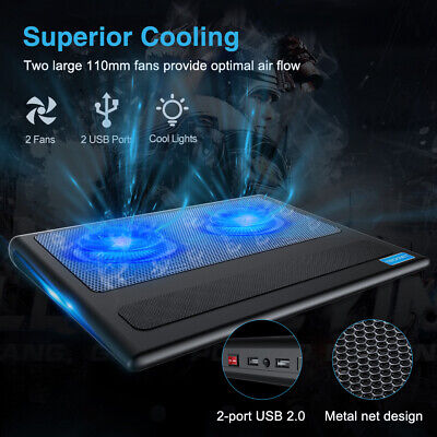 2 Fans Laptop Cooler Stand Cooling Pad Fits 9-16 Inch Cooling Pad W/ Blue Light • 22.98£