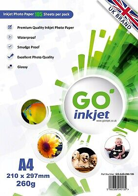 GO Inkjet A4 Glossy Photo Paper 100 Sheets 260gsm For Inkjet Printers • 10.85£