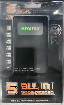 HIYATEK 5 Slots All In 1 USB 2.0 HIGH SPEED CARD READER For All Memory Card- NEW • 4.99£