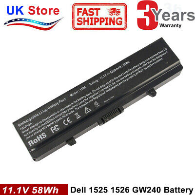 For DELL INSPIRON 1525 1526 1545 1546 1750 Vostro 500 BATTERY 6-CELL X284G RN873 • 12.99£