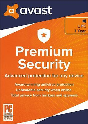 Avast PREMIUM SECURITY 2020, 1 PC (FOR WINDOWS) 1 Year (LATEST DOWNLOAD VERSION) • 8.89£