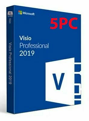 5PCs Official Microsoft Visio Professional 2019 5 PC Key + Download Link!  • 4.95£