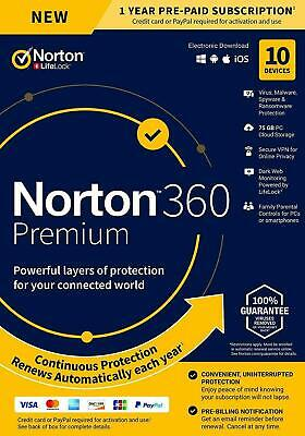 NORTON 360 PREMIUM SECURITY 2021 - 10 PC DEVICES -  WITH SECURE VPN - Download • 20.75£