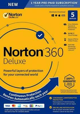 NORTON 360 DELUXE SECURITY 2020 - 5 PC DEVICES -  WITH SECURE VPN - Download • 15.39£