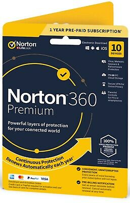 OFFICIAL Norton 360 PREMIUM 10-PC | 1 Year + 75Gb Cloud And VPN • 21£
