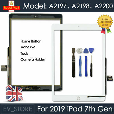 For IPad 2019 7th Gen A2198 A2200 Screen Replacement Touch Digitizer Glass White • 21.93£