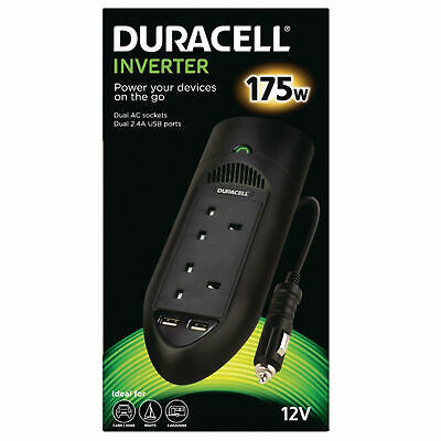 Duracell 175W Power Inverter With Dual AC -UK And USB Sockets • 29.90£