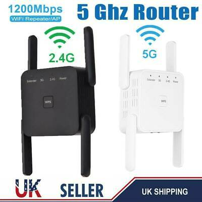 1200Mbps WiFi Signal Extender Range Booster Dual-Band Network Amplifier Repeater • 23.99£