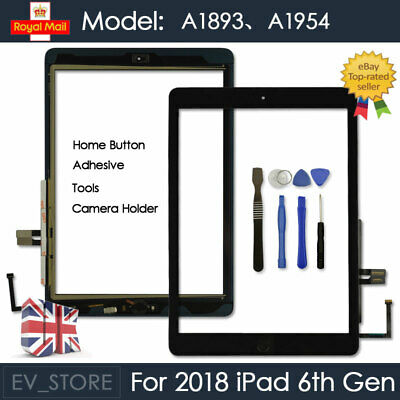 For 2018 IPad 6th Gen A1893 A1954 Touch Screen Digitizer Replacement Black + IC • 13.40£