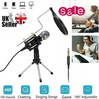 3.5mm PC/Phone Microphone Home Studio Condenser Microphone For Podcast/Recording • 11.98£