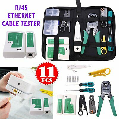 Ethernet Network Kit RJ45 Cat5e LAN Cable Tester Cutter Crimping Punch Tool • 10.99£