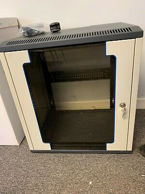 12U Wall Mounted Server Rack Cabinet - Grey - Lockable Glass Door With Keys • 20£