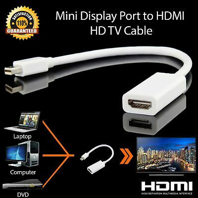 MiniDisplayPort To HDMI Adapter Cable HDTV Moniter Projector For MacBook Air/Pro • 3.19£
