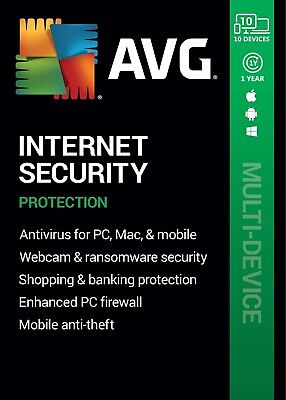 AVG INTERNET SECURITY 2020, 10 Multi-Devices 1 Year - LATEST DOWNLOAD VERSION • 10.49£