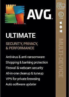 AVG ULTIMATE 2020, 10 Multi-Devices 1 Year With VPN - LATEST DOWNLOAD VERSION • 18.99£