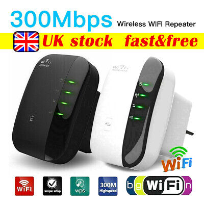 UK Plug WiFi Signal Range Booster Repeater Extender Wireless Amplifier Network • 10.99£
