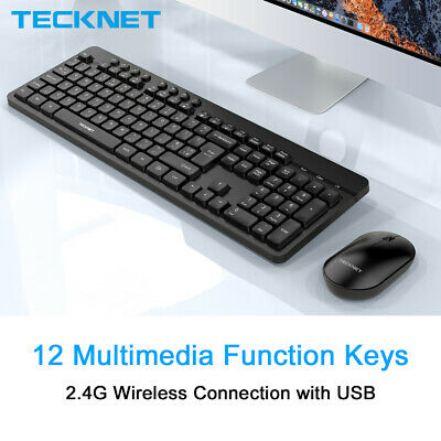 TeckNet Full Size Wireless Keyboard And Mouse Set UK QWERTY 2.4GHz For PC Laptop • 13.99£