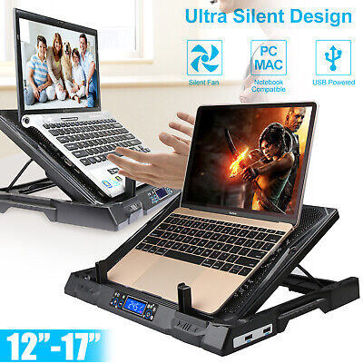 2 Fans Gaming Laptop Cooling Pad Adjustable Stand USB Cooler Tilt For 12  To 17  • 22.99£