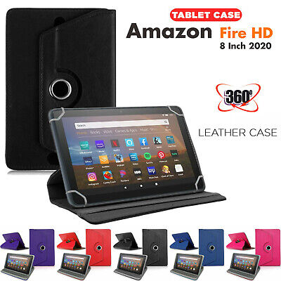 Case For Amazon Fire HD 8 Inch 2020 Tablet Leather Cover Smart Rotating Stand • 5.99£