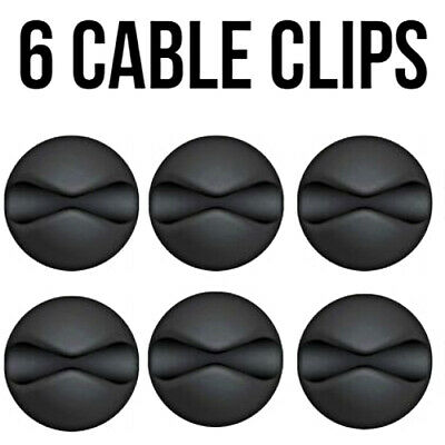 6x Black Cable Wire Cord Lead Drop Clips Usb Charger Holder Tidy Desk Organiser • 2.75£