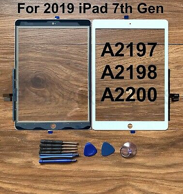 Touch Screen Glass Replacement For IPad 2019 7th 10.2  A2197 A2198 A2200 - White • 17.99£