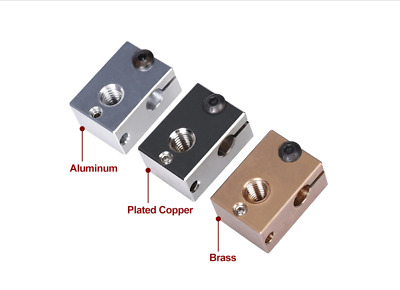 High Quality V6 Heat Block Plated Copper Brass Or Aluminium Includes Sock UK  • 10.98£