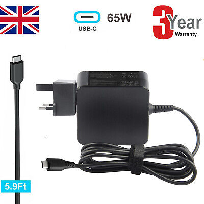 65W USB Type-C Laptop Charger AC Adapter For Dell Chromebook 13 3380 • 13.99£