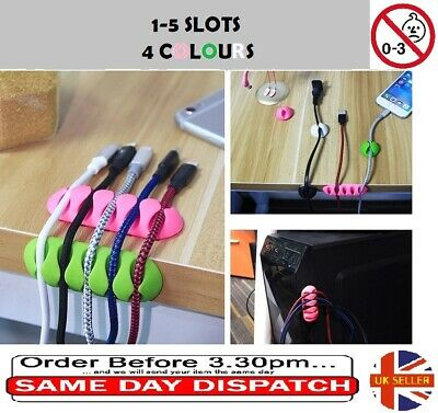 1-5 Slots Cable Organiser Clips, Ties, Charger Wire Holder Tidy Management • 2.59£