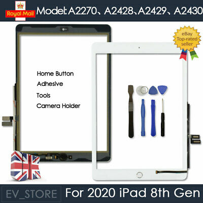 For IPad 8 2020 A2270 A2428 A2429 A2430 White Digitizer Touch Screen Replacement • 26.97£