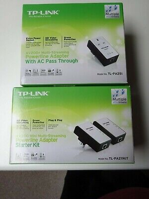 TP-Link TL-PA251KIT Powerline Adapter With AC Pass Through Plus 2 X TL-PA211 Pow • 10£