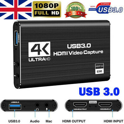 4K HDMI To USB 3.0 Audio Video Capture Card 1080P 60FPS For Game Live Streaming • 29.44£