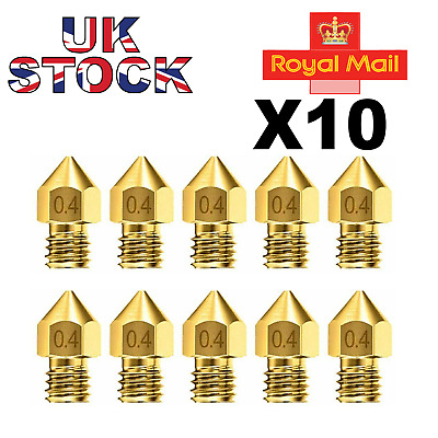 10x 3D Printer Nozzle Accessory MK8 0.4mm For CR-10 For Ender 3 For Anet A8 M6 • 4.99£