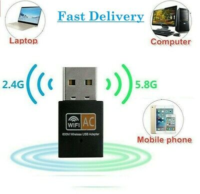 600 Mbps 5ghz USB Dual Band Wireless Adapter WiFi Dongle 802.11 AC Laptop PC UK • 5.99£