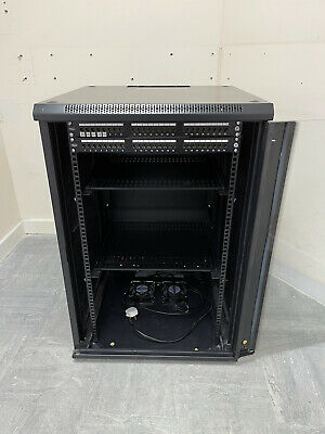 18U 19  900MM Tall Black Wall Mounted Data Cabinet Patch Panel. Sold As Seen. • 80£