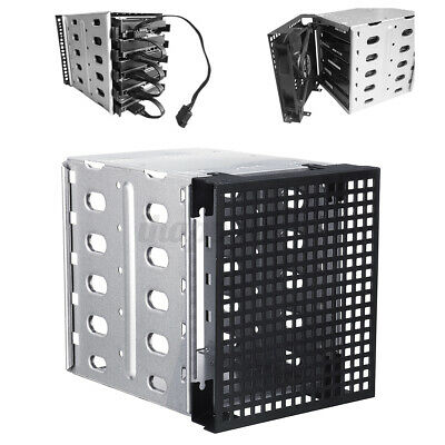 5.25'' To 5x 3.5'' SATA SAS HDD Cage Rack Hard Driver Tray Caddy With Fa • 13.86£