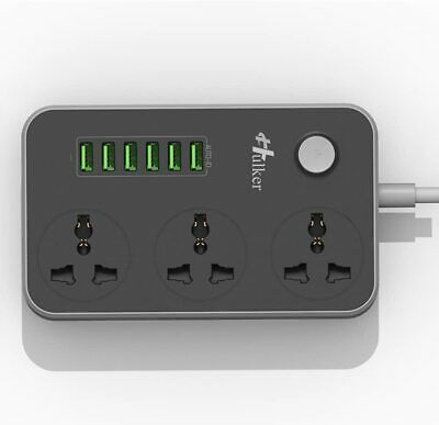 Hulker Extension Lead With USB Ports 3 Way Outlet 6 USB Ports Surge Protection  • 15.95£