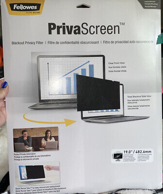 Lot 2 FELLOWES 19.0  PRIVASCREEN Monitor BLACKOUT PRIVACY FILTER 19.0  CRC48005 • 22.75£
