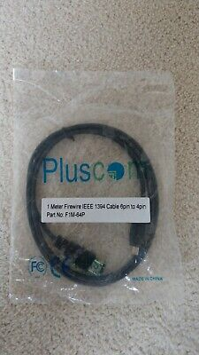 1m Firewire 400 IEEE1394 6 Pin To 4 Pin Male Cable Lead PC Mac DV OUT CAMCORDER • 2.45£