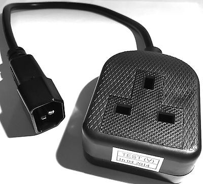 Power Extension Cable IEC C14 Male Plug To UK Mains Female Socket 13A Black 0.3m • 3.99£