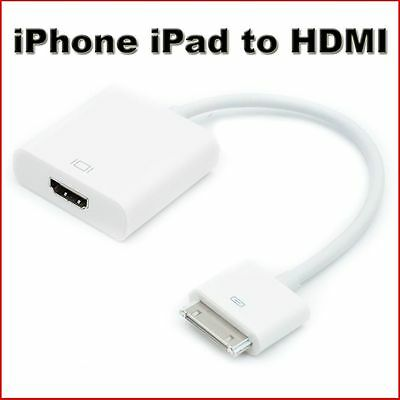 1080P Dock Connector To HDMI TV Adapter Cable Lead For IPhone 4s & IPad 2 3 New • 6.99£