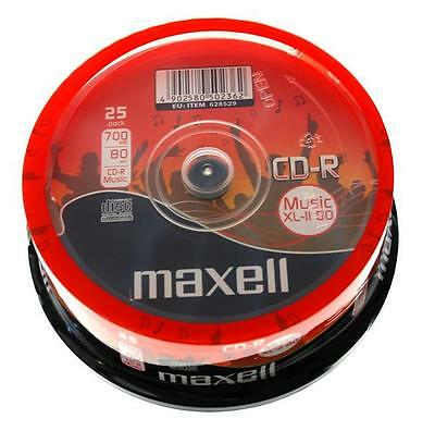 25 X Maxell CD-R 80 Mins XL-II Digital Audio Recordable Blank Discs In Spindle • 8.99£