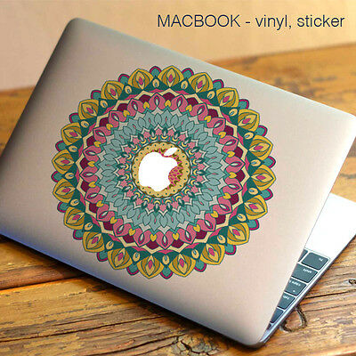 Mandala Flowers Macbook Sticker | Laptop Stickers | Green Decal - Clear Vinyl • 3.99£