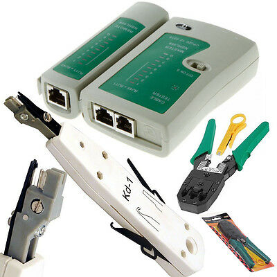 RJ45 Ethernet Network Cat5e Cat6 LAN Cable Tester Punch Down Crimping Tool Kit • 9.95£